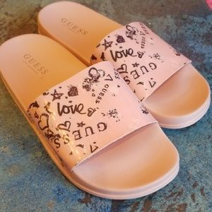 Guess pink slides shoes